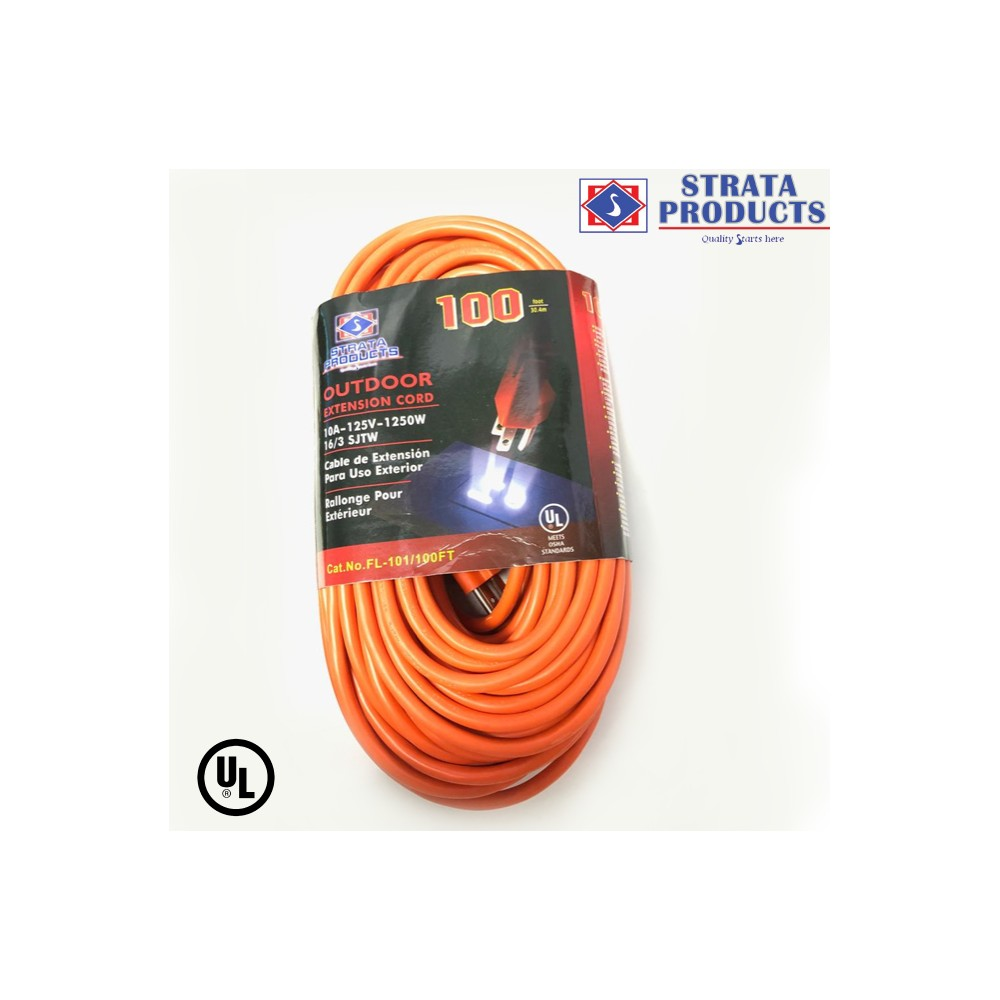 100 ft 16//3 Extension Cord Surge Protectors Electric General Purpose Light Duty