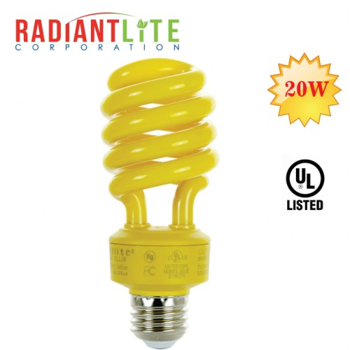20W CFL COLOR BULB YELLOW