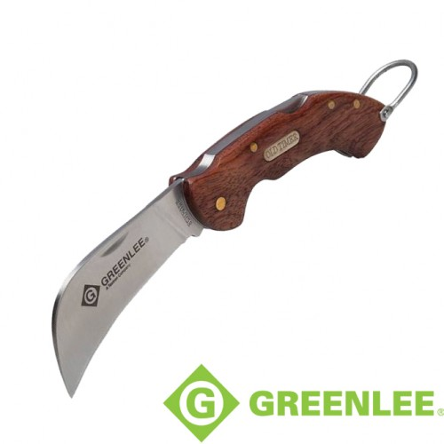 FOLDING HAWKE BILL KNIFE (2-5/8 SS WOOD POP)
