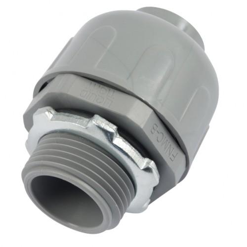 """1"""" Gray Nylon Straight Liquidtight Connector"""