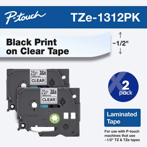 "Tape, 1/2"" (0.47"") , Black on Clear"