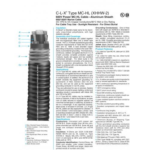 C-L-X® Type MC-HL (XHHW-2) 600V Power MC-HL Cable